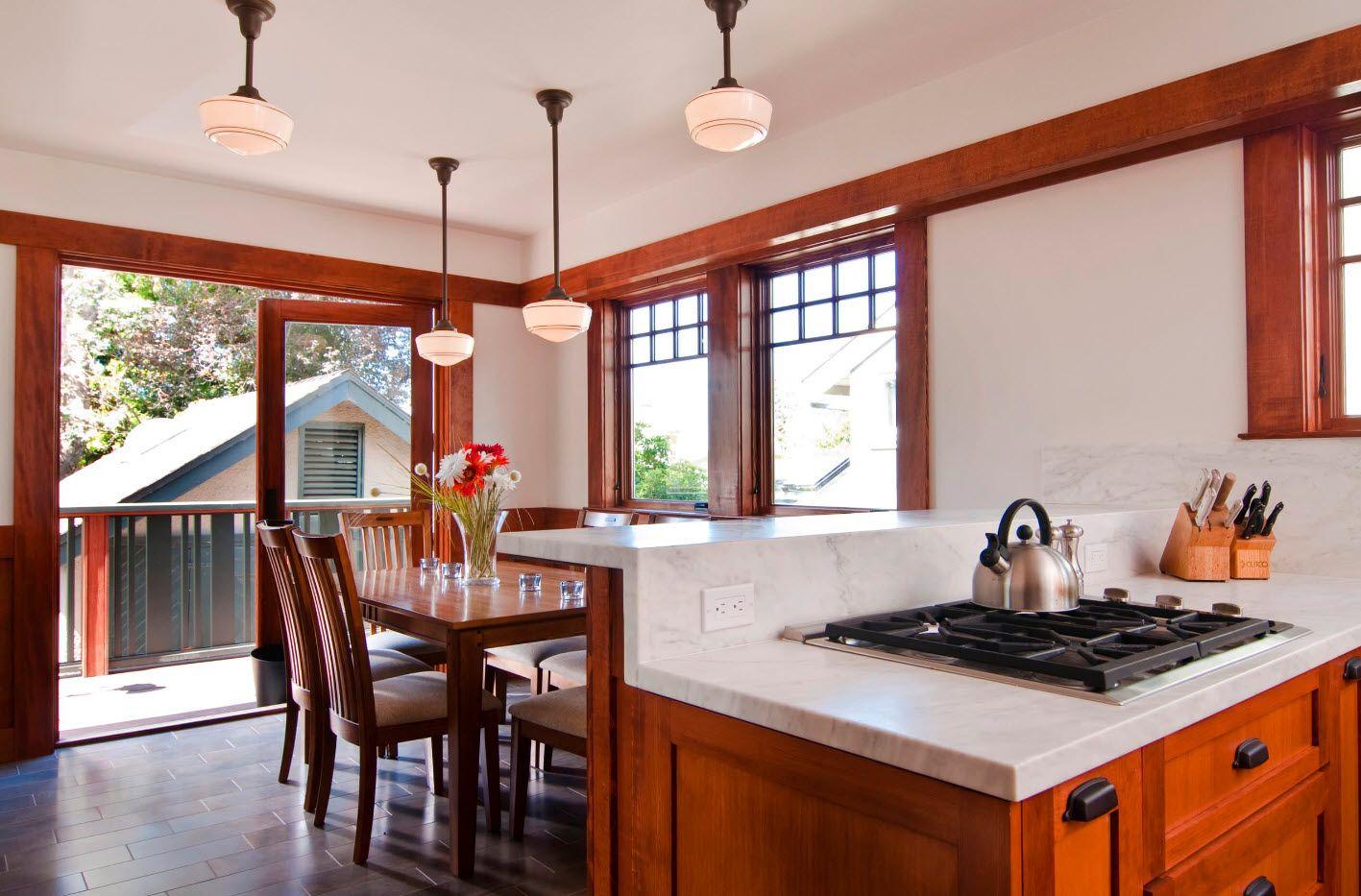 Кухня-столовая с барной стойкой