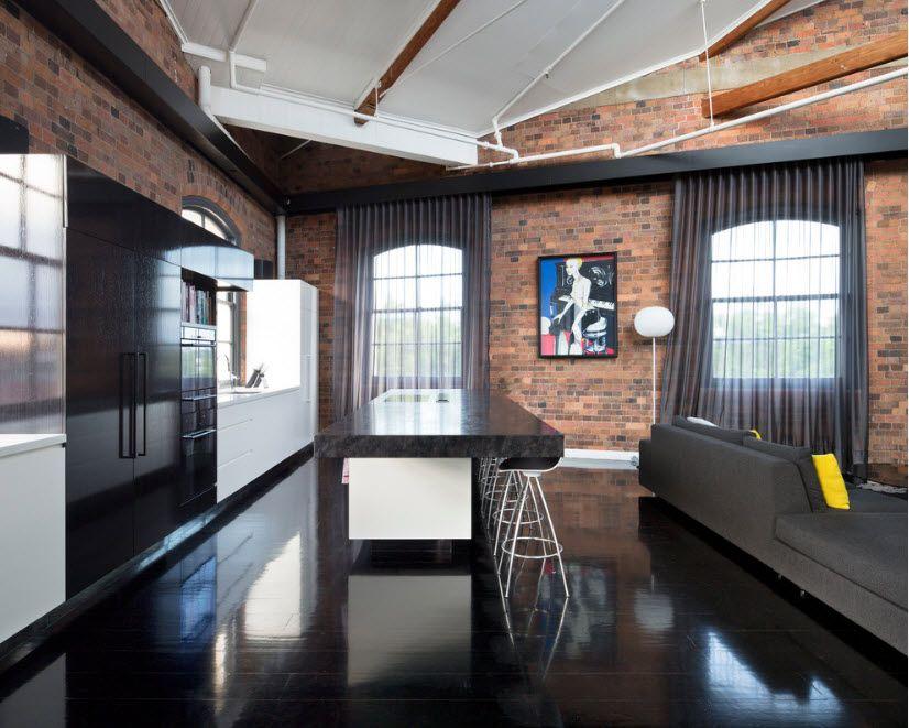 Тъмно тюл за стил в таванско помещение