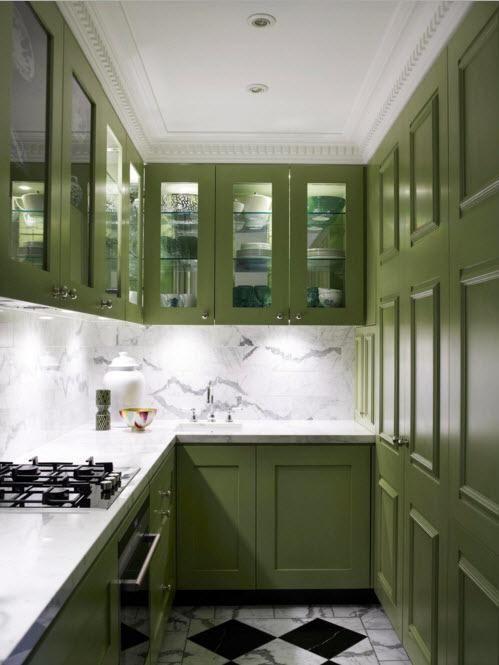 Темно-оливковая кухня