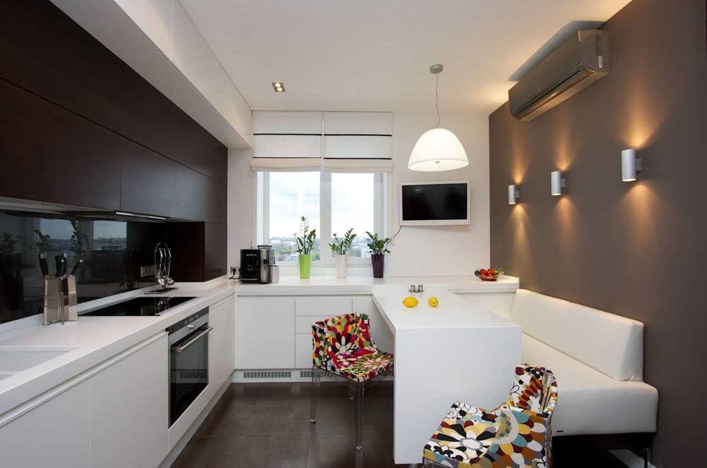 Контрастный дизайн кухонного помещения