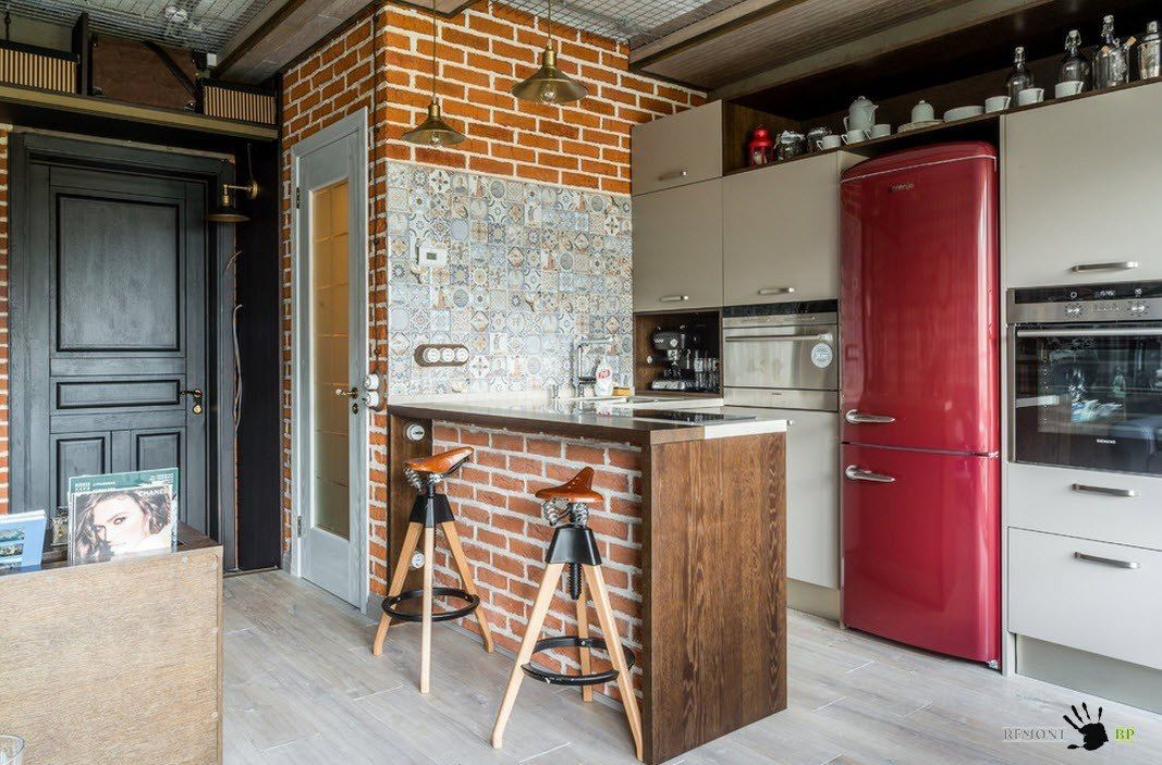 Серые фасады для яркой кухни