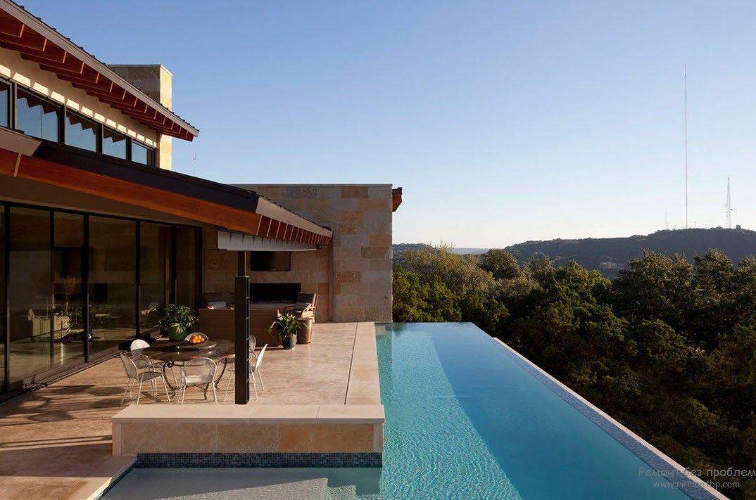 Очень эффектный дизайн бассейна у дома с роскошным видом