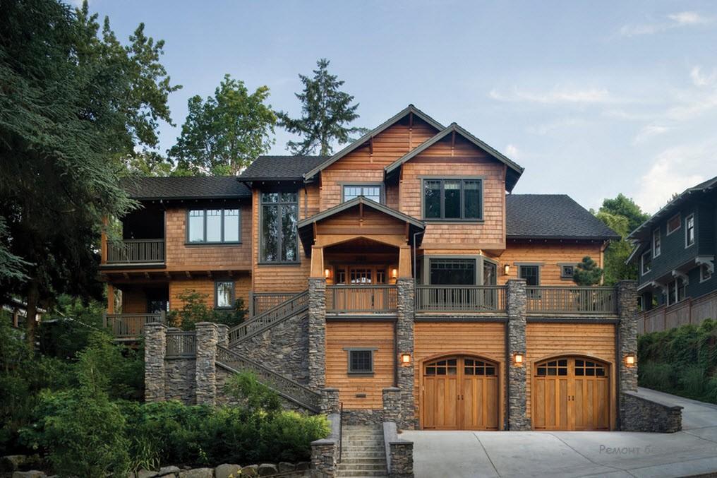 drewniany dom w kamiennym otoczeniu