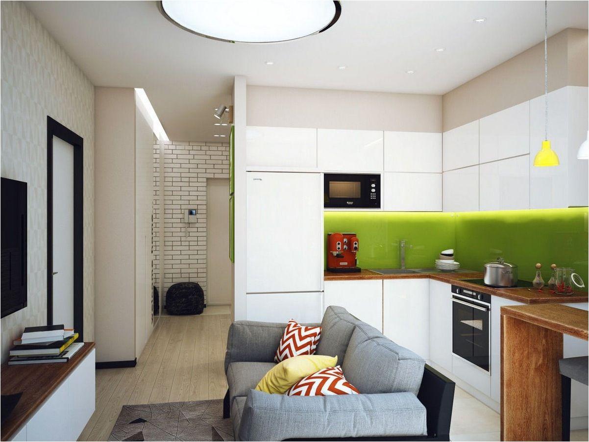 малка кухня-хол със зелени тонове