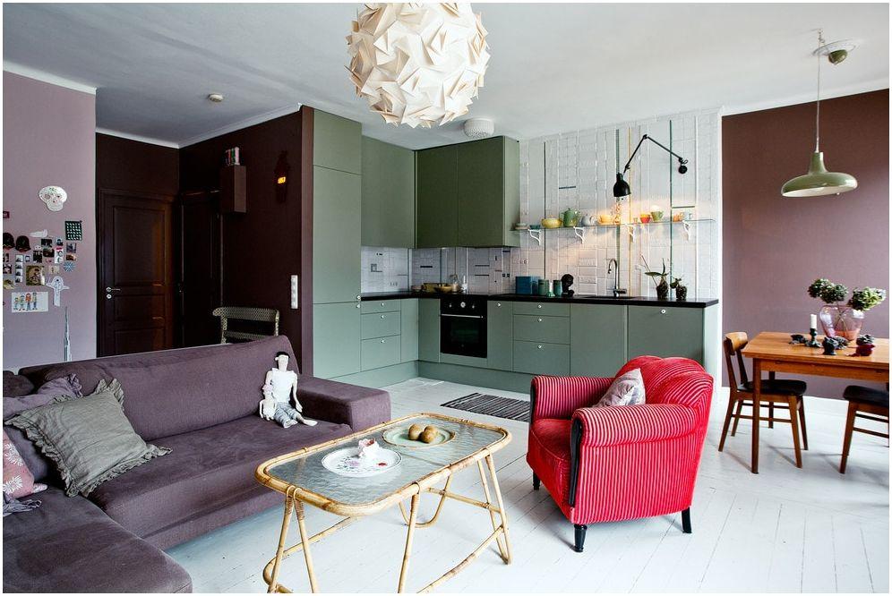Современная гостиная с мини-кухней: идеи рационального использования пространства 15 кв. м