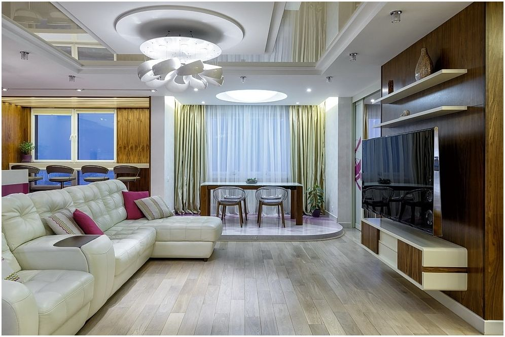 Stretch mennyezetek: fotó a folyosóra - elegáns lehetőségek egy modern nappali díszítésére