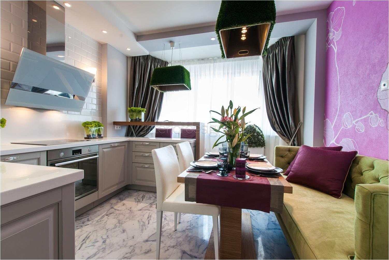дизайн на кухня и хол със зелен диван