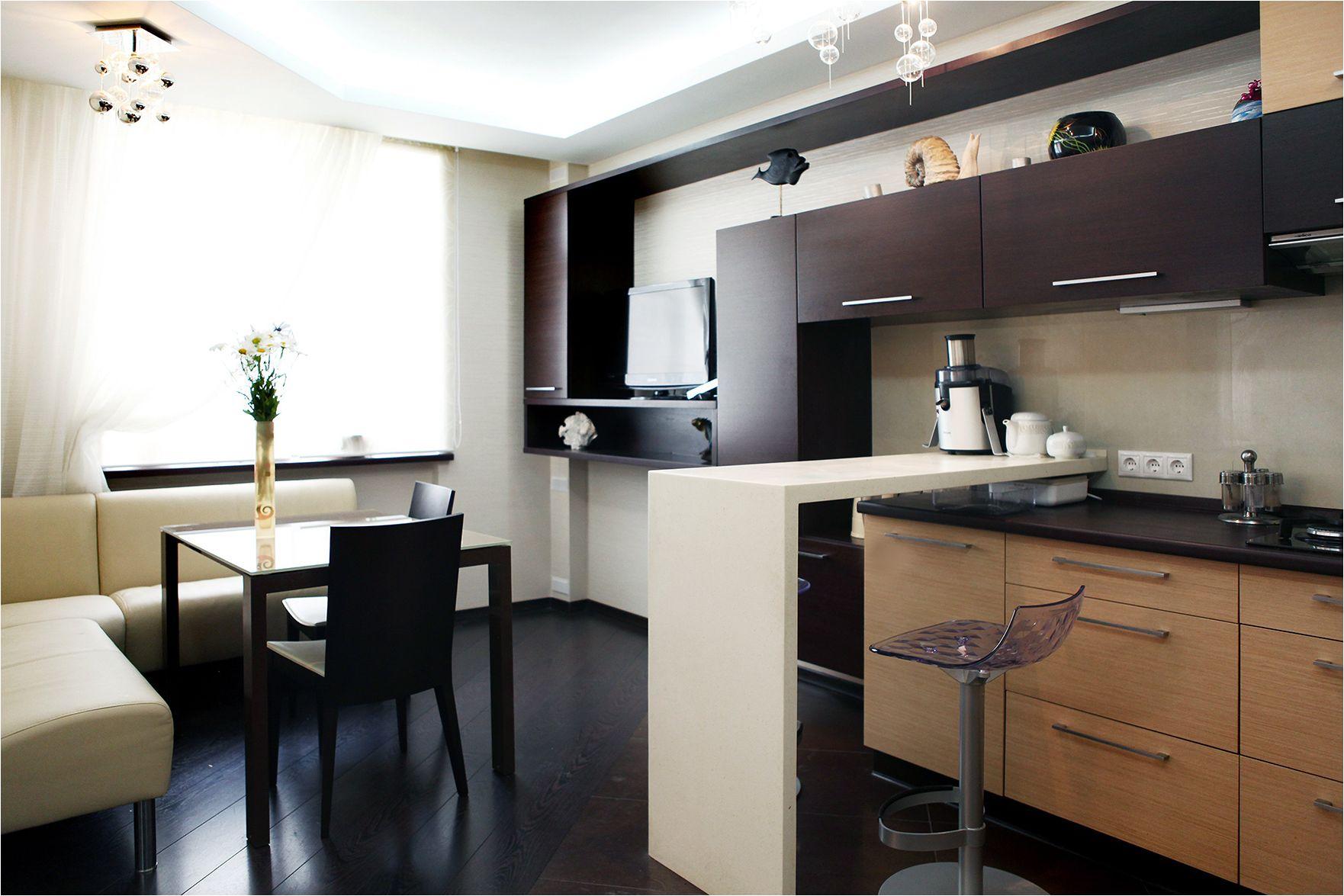 дизайн на малка кухня-хол