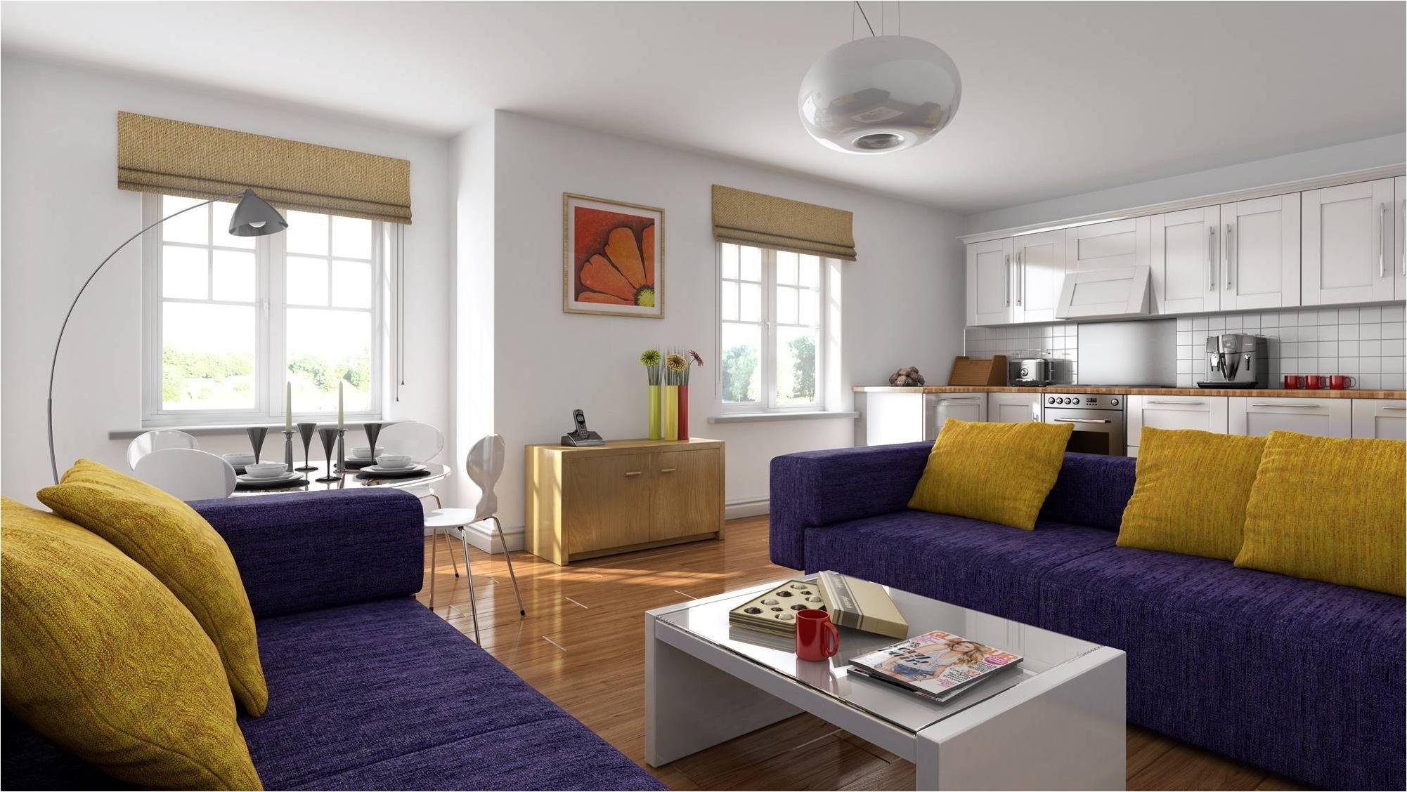 зониране с две сини дивани