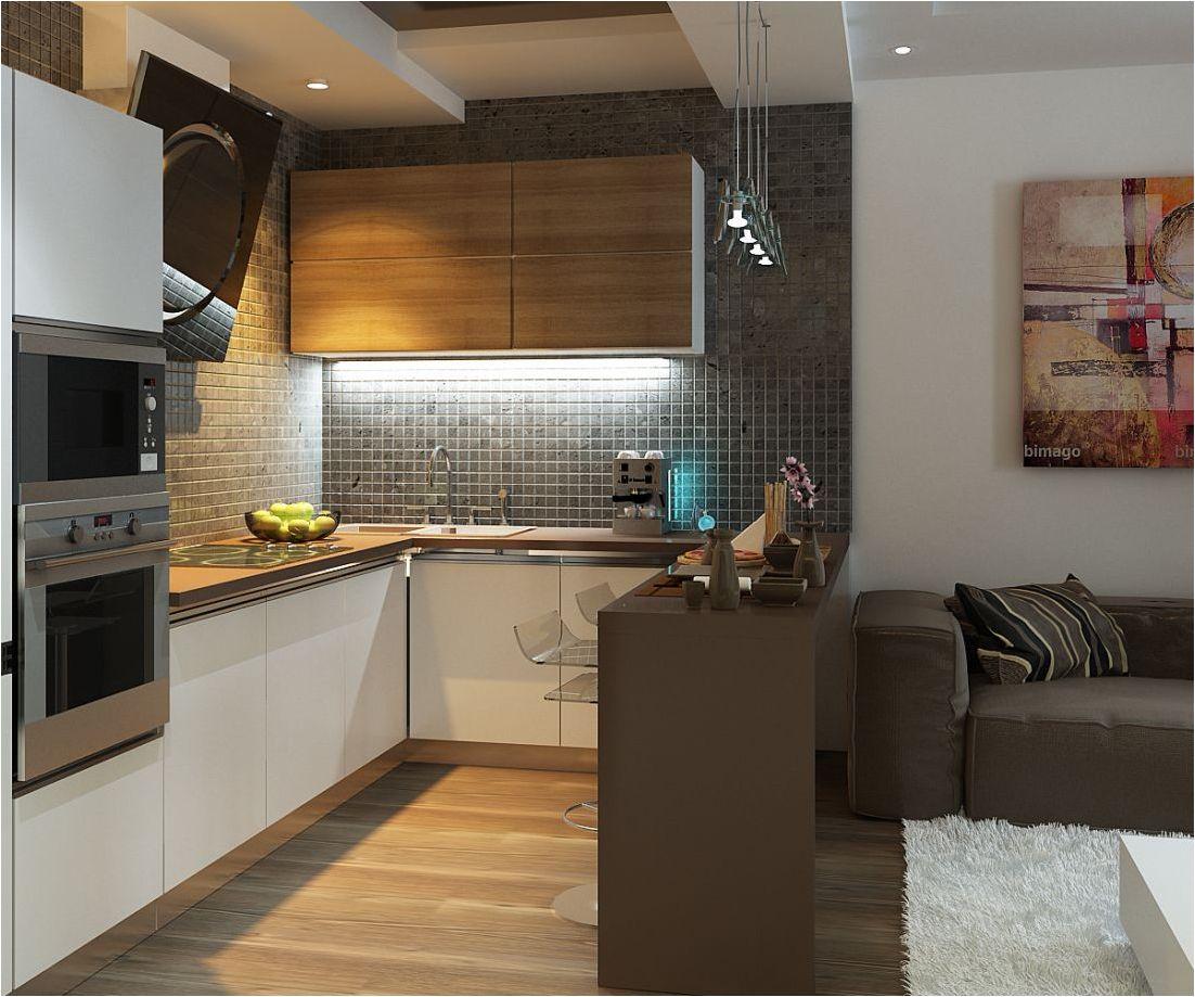 интересен дизайн на кухня и хол