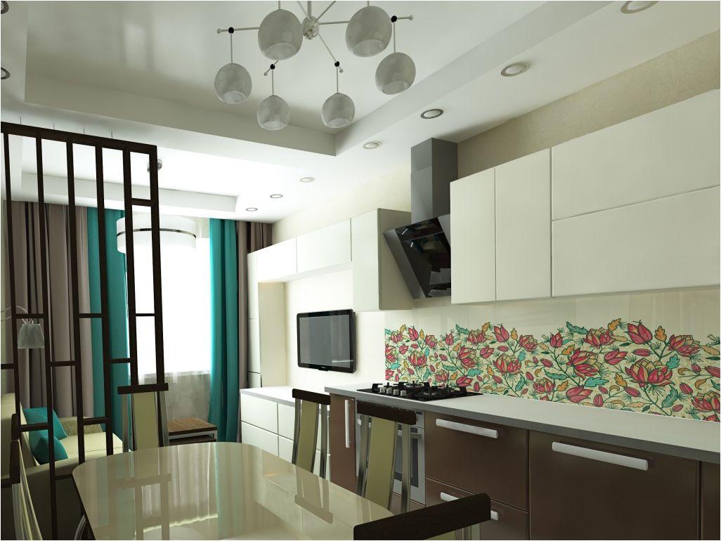 кухня-хол 20 квадрата с преграда