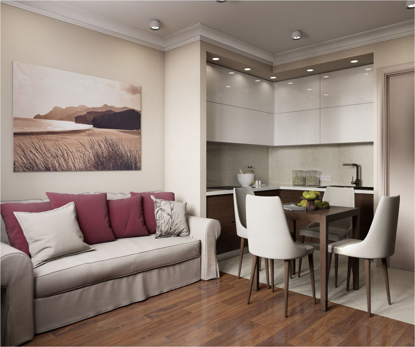 кухня-хол в бели цветове