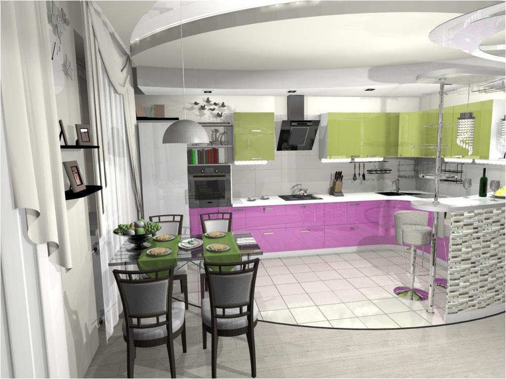 зеленая и сиреневая кухня-гостиная