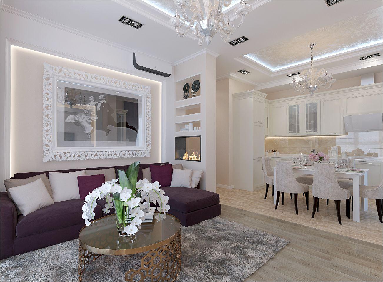 кухня-хол с ярък диван