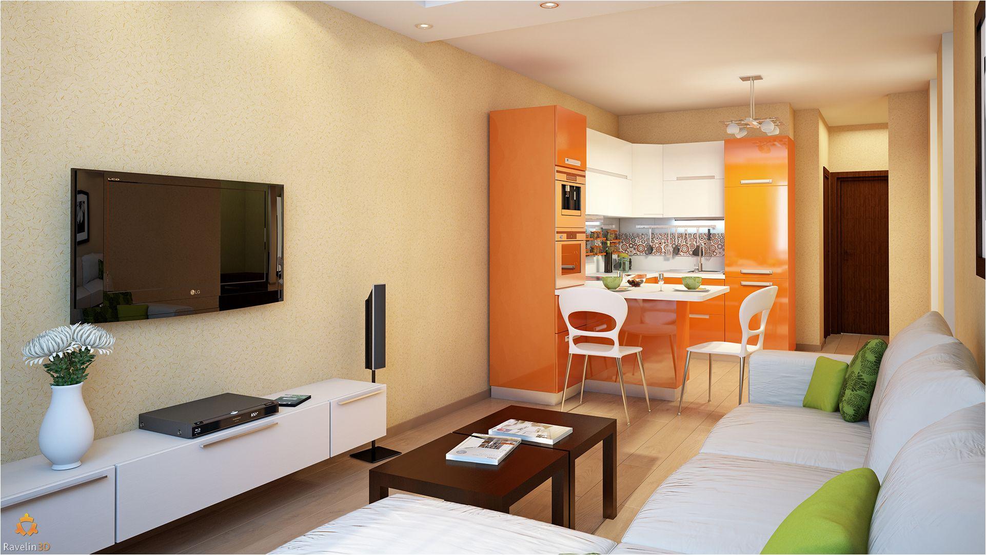 оранжева кухня и светла всекидневна