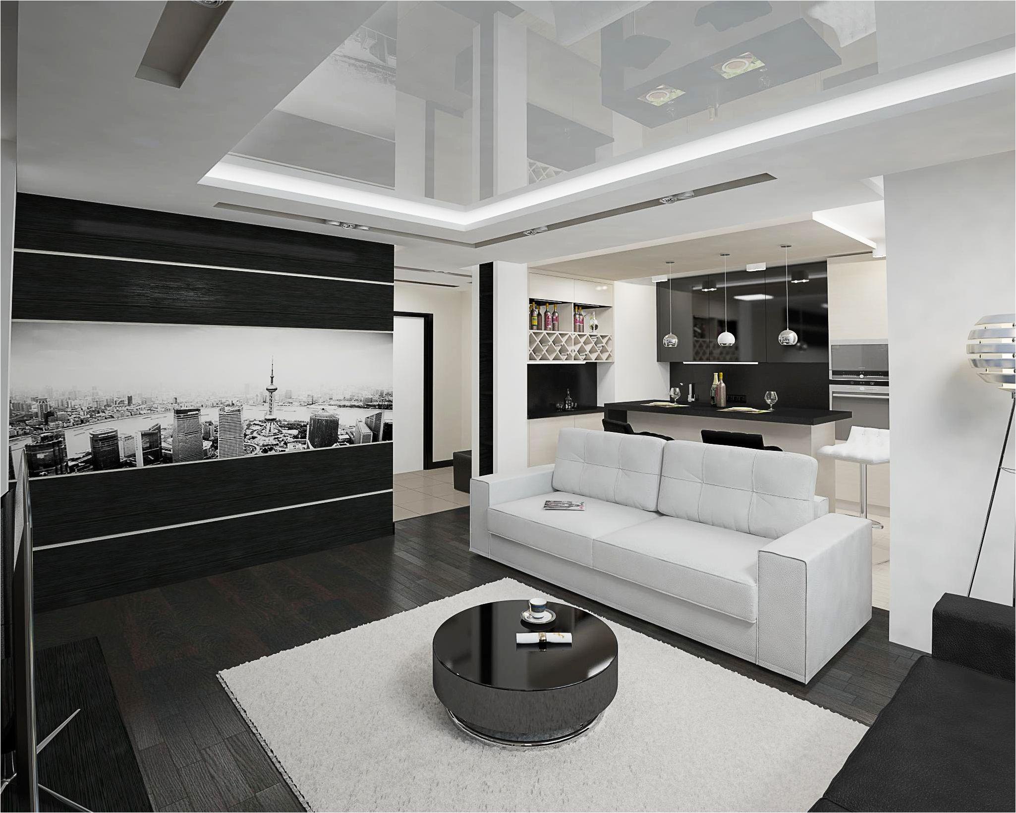 модерна черна и бяла кухня-хол