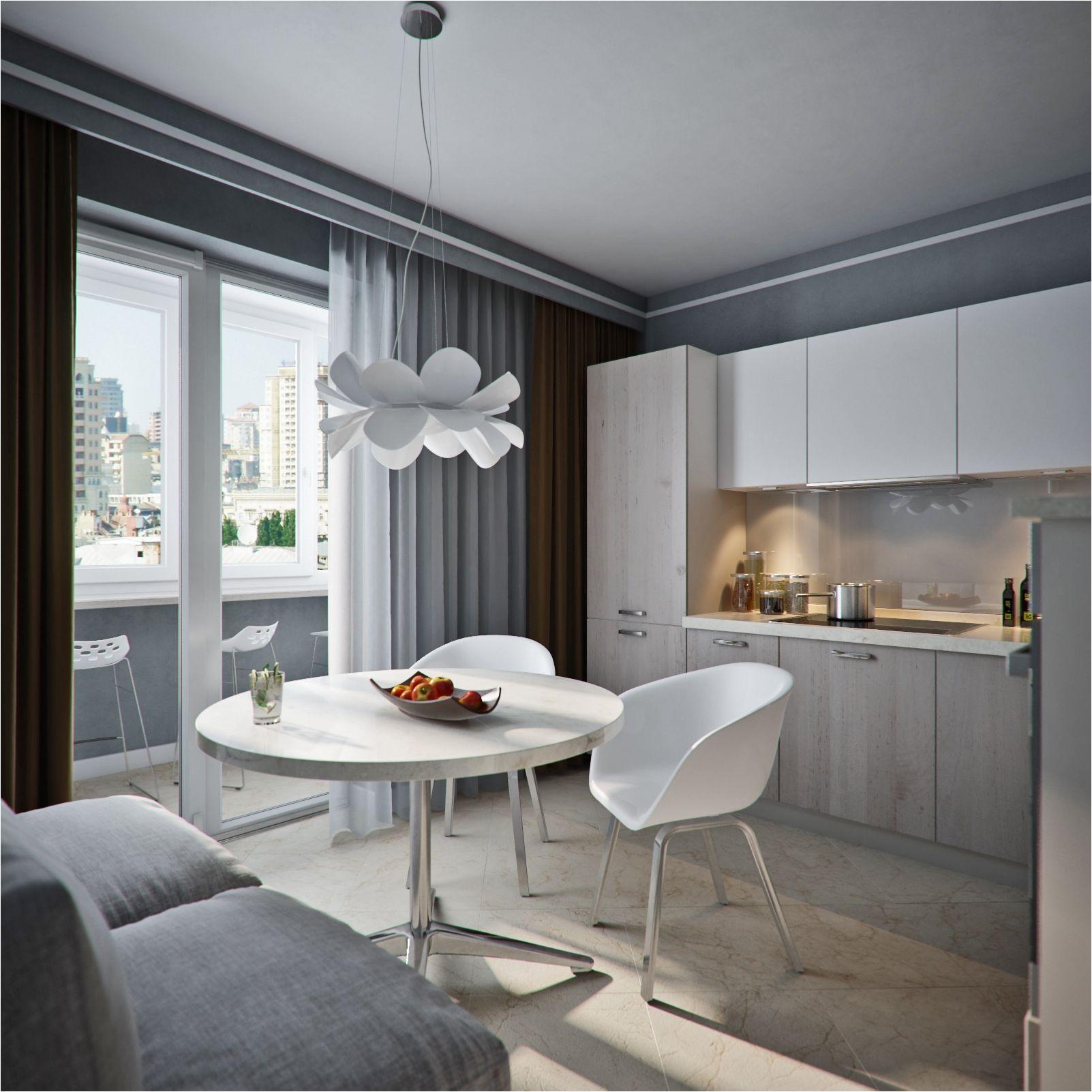 белая кухня с серыми оттенками