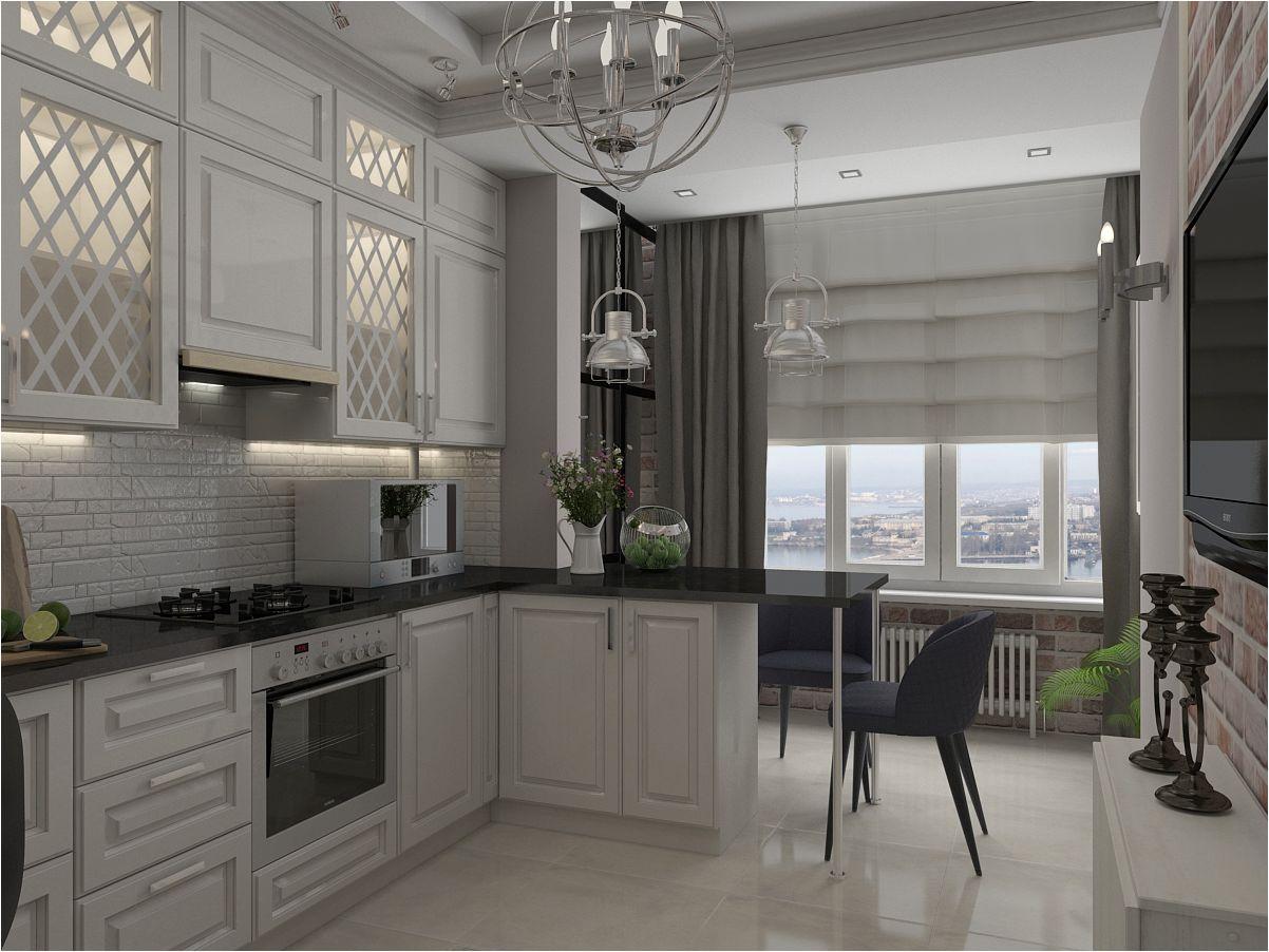 белая современная кухня с балконом
