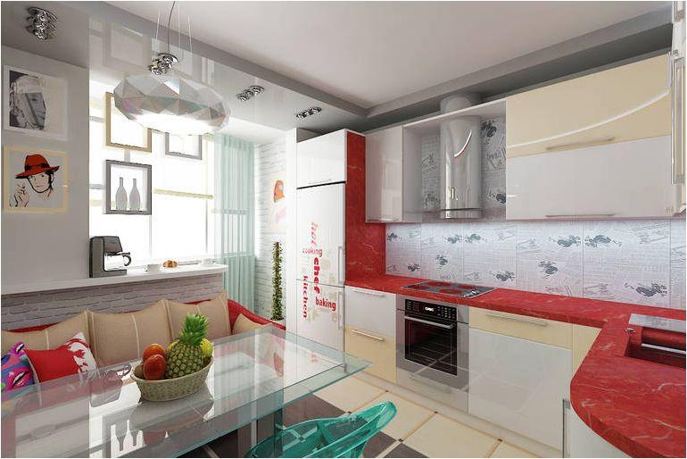 cuisine aux couleurs blanches et rouges