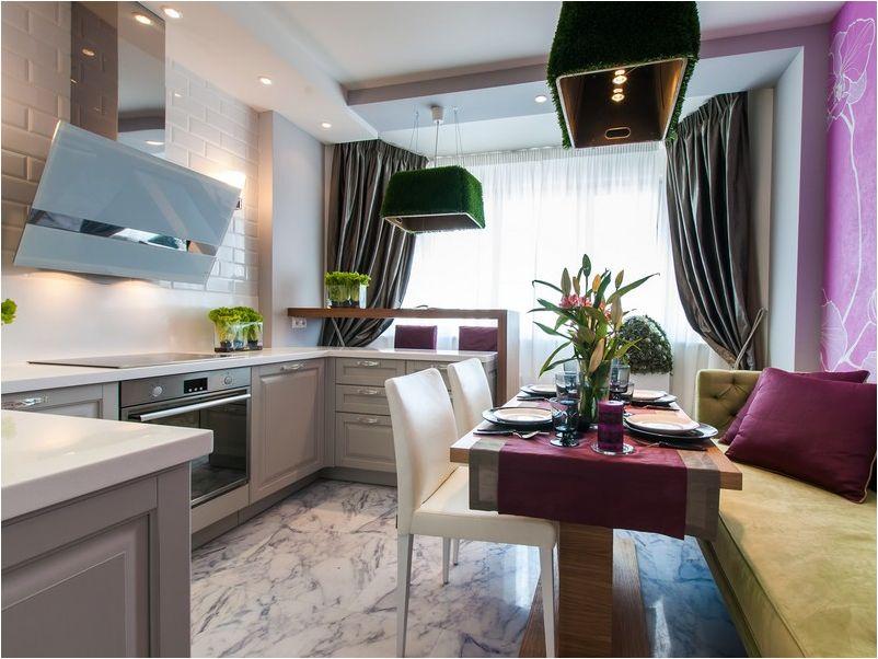 cuisine combinée avec un balcon avec des accents de décoration lumineux
