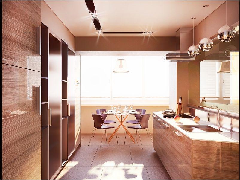 кухня с балконом из древесины