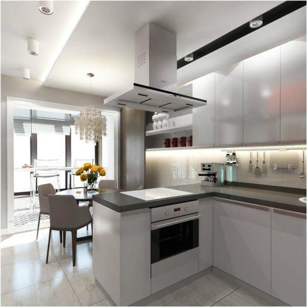светлая большая кухня