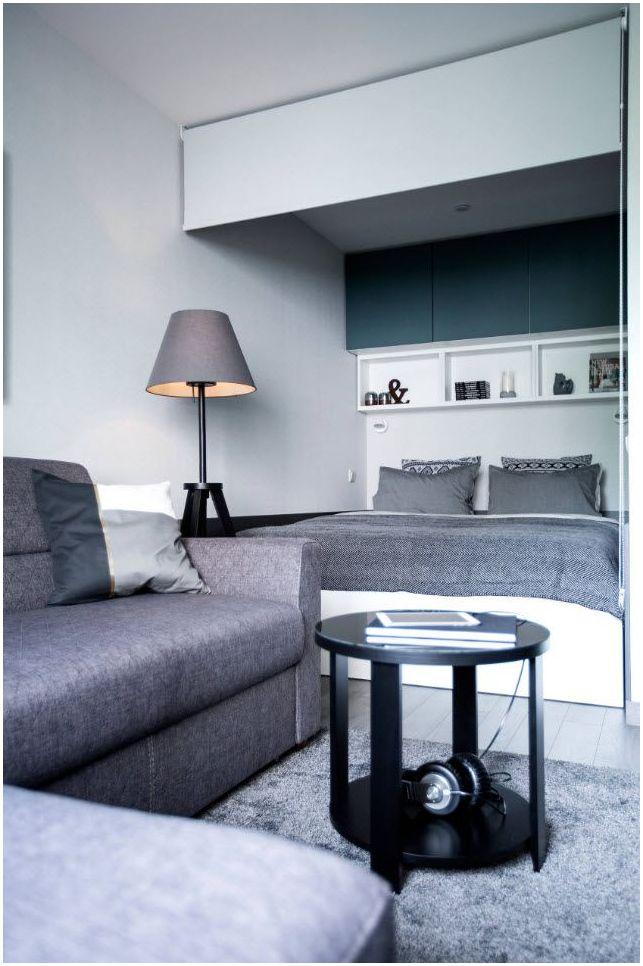 Успешни примери за комбиниране на спалня и хол в една стая